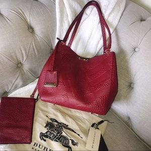 Burberry Canterbury Embossed Check Pebbled Tote